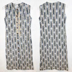 Ikat Embroidered Cotton Sleeveless Maxi Dress
